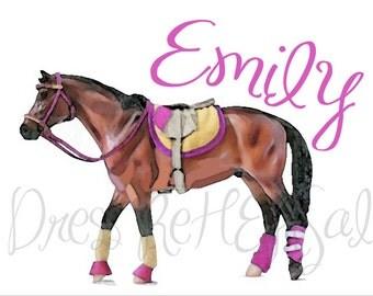 English riding Horse screen print t shirt