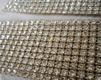 Set of 2 VINTAGE Glass Rhinestone Netted Mesh Jewelry Fabric Trim Pieces  A2