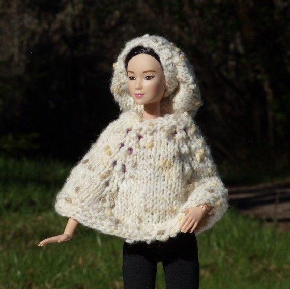 Knitting Pattern For Dolls Poncho : Barbie Doll Poncho and Slouch Hat Knitted Poncho pattern