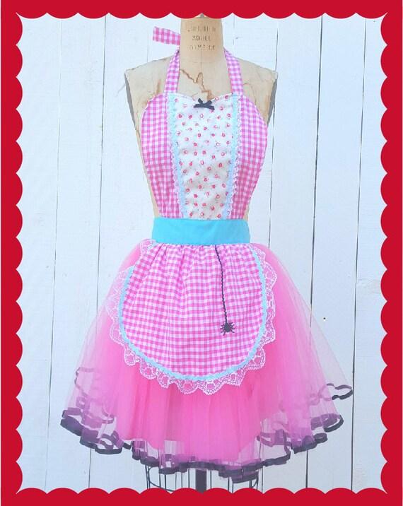 Little Miss Muffet costume, womens costume apron, Halloween costume, vintage fairy tale costume, tutu apron, Lover Dovers, aprons, retro