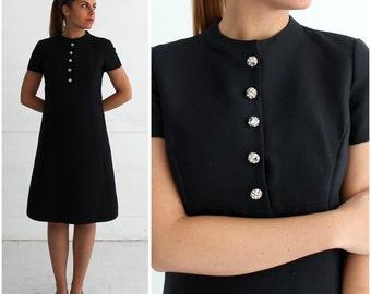Vintage 60s Short Sleeved Black Silk Wool Dress with Rhinestone Buttons by Adele Simpson | Medium