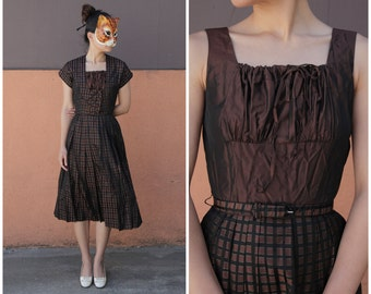 Vintage 50's/60's Preppy Iridescent Brown & Black Windowpane Checked Tank Party Dress with Cropped Jacket by Gay Gibson | XS