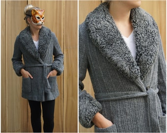 Vintage 60's/70's Gray Knit Belted Cardigan with Faux Fur Collar and Cuffs by Betty Rose | Small Medium Large