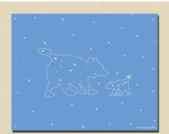 Mama and Baby Bear 8 x 10 Nursery Art Printable Mom and Baby Print Ursa Major Ursa Minor Constellation Night Sky Cornflower Blue Stars
