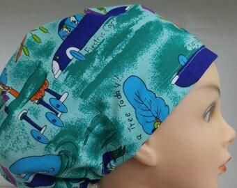 Womens Hybrid Style Surgical Scrub Hat Chemo Chef Cap Tree Hugger Enviromental