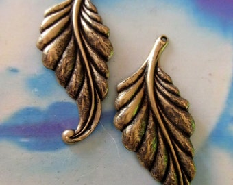 Brass Ox Plated Brass  Leaf or Feather Stamping 978BOX x2