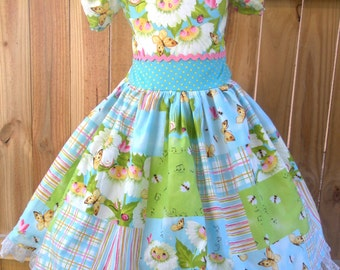 Ready to Ship Custom Daisy Kingdom Singing in the Rain Spring Girl Dress Will Fit Sizes 4 or 5