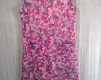 Vintage 60s pink bubble gum sheath dress sz L