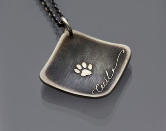 Handwritten Personalized Name Paw Print Necklace, Etched Sterling Silver Necklace, pet memorial necklace