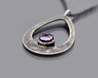Amethyst and Sterling Silver Teardrop Necklace, etched silver, oxidized silver, rose cut amethyst cabochon