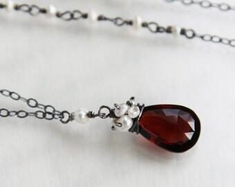 Red Garnet Necklace, Garnet Necklace - Oxidized Solid Sterling Silver