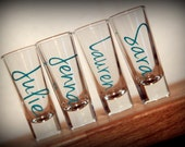 Personalized Bridesmaids shot glasses, bachelorette favors, girls weekends or vacation shot glasses...  Shooters for bridesmaid gifts...