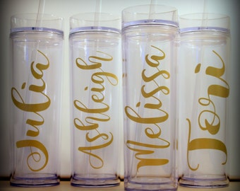 11 - Personalized Slim Tumblers...  Set of 11...  great gift for the bride and groom, bridesmaids, friends, favors, teachers