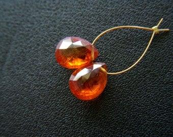 Top Grade Spessartine Garnet Faceted Drops - Pair - 7x9mm