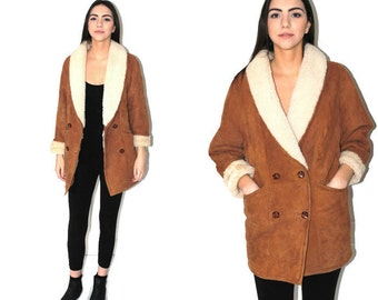 boho sheepskin coat brown suede + white sheep wool 80s vintage shearling bohemian jacket medium