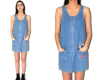 light wash DENIM dress vintage 90s LOONEY TUNES pale jean jumper medium os