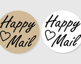 Happy Mail Stickers - matte white finish - assorted sizes - 1.5 inch - 2 inch - 2.5 inch - 3 inch - Packages - Gifts - Presents