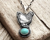 Chicken necklace, silver and turquoise hen necklace, chicken jewelry, backyard chicken, Kingman turquoise necklace