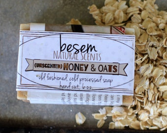 Unscented Honey and Oats, one BIG, skin loving, mild, cold process bar of real soap