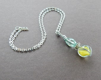 Carnival Collection Retro Vintage Yellow Cats Eye  Marble Pendant Wire Wrapped Childhood Memory Necklace