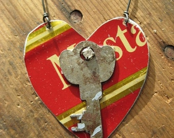 50% OFF SALE Vintage Reclaimed Heart Tin Ornament, Upcycled, Gifts under 15, gifts for her, Christmas ornament, ready to ship