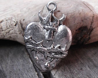 1 Stunning Matte Silver Sacred Heart Charm with Flame and Crown of Thornes