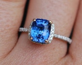 White Gold Engagement Ring 2.71ct Cornflower Blue Sapphire cushion halo engagement ring 14k white gold.