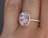 Color change Sapphire Ring 14k Rose Gold Diamond Engagement Ring 3ct cushion mauve sapphire