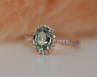 Spring Green Sapphire Diamond Ring 14k rose gold engagement ring by Eidelprecious