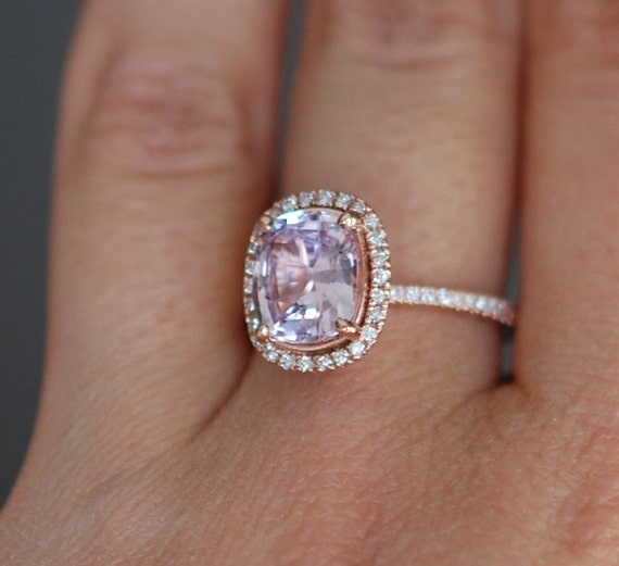 Peach Sapphire Ring 14k Rose Gold Diamond Engagement Ring