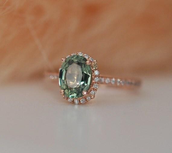 Spring Green Sapphire Diamond Ring 14k rose gold engagement ring by Eidelprecious