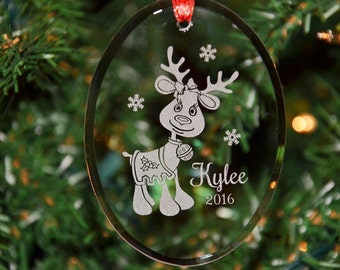 Personalized Engraved Keepsake Glass Christmas Ornament, Custom Girl Reindeer Ornament, Holiday Ornament by Hummingbird Hill - ORN16