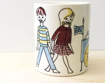 Leckerli. 1950s canister, German mid century modern decor. Limburg Dom Keramik.