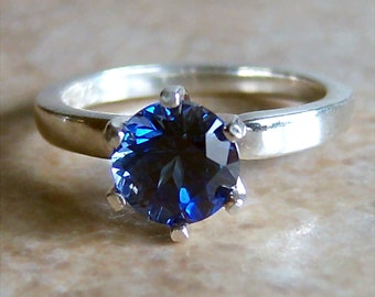 1.75ct Lab Sapphire 6-Prong Sterling Silver Ring, Cavalier Creations, Choice of Color