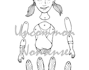 Yoga Girl 1. dance, ballet, jointed articulated paper doll puppet coloring page, download