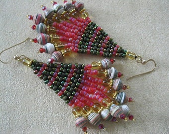 Seed Bead and Paper bead Chandelier Earrings - Brown, white and light tan seed bead earrings , fringe with tan and off white wallpaper beads