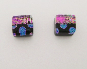 Dichroic glass tiny post earrings