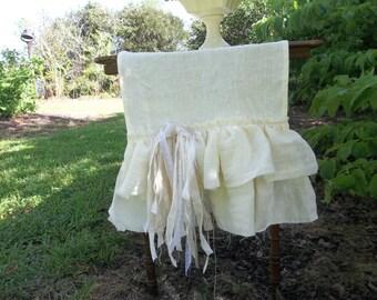 Custom Linen Table Runner Multi Ruffle Runner Ivory Linen Table Runner Wedding Decorations Table Decor French Country Cottage Chic Shabby