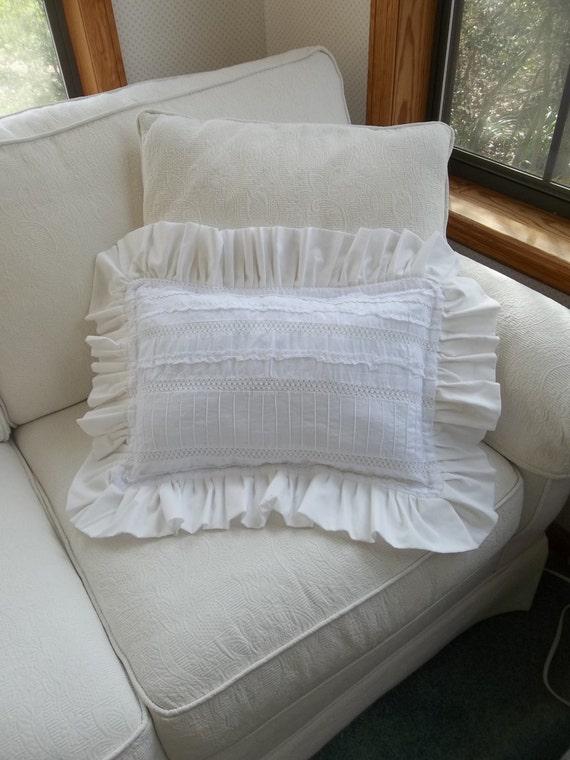Ruffled Pillow White Eyelet Throw Pillows READY to by misshettie