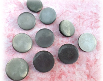 10 GRAY Shank Vintage Buttons from Muscatine, Iowa for Sewing Crafts Scrapbooking Cardmaking