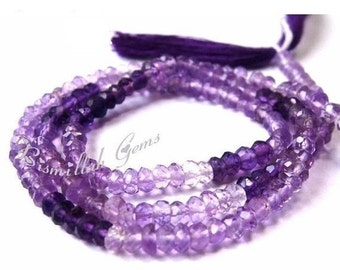 55% OFF SALE AAA Amethyst Micro Faceted Shaded Rondelles Size 3.5mm Approx Length 14 Inches