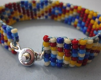 The Lego Bracelet - primary colors mountain range square stitch beaded bracelet