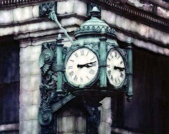 Marshall Fields Clock Polaroid SX-70 Manipulation - 8x8 Fine Art Photograph, Wall Decor