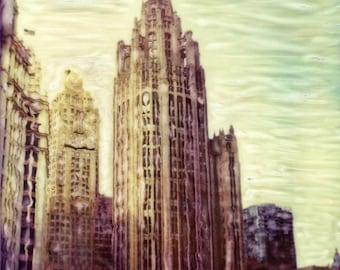 Chicago Tribune Tower- Polaroid SX-70 Manipulation - 8x8 Fine Art Photograph, Wall Decor