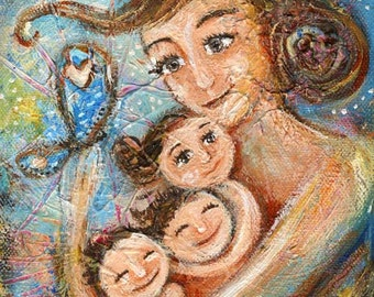 Beloved Jewels - Mom with 3 kids & butterfly, archival signed motherhood print by Katie m. Berggren