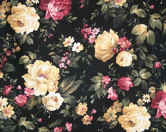 Cottage Rose Black Floral Fabric with Flowers By the Yard, Quarter Yard, Fat Quarter Roses Peony Fabric Cotton Quilting Fabric t1/39