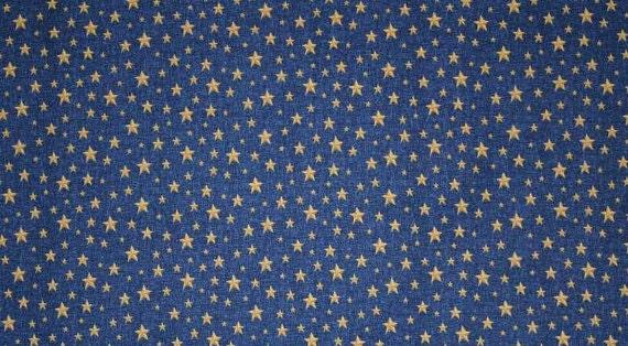 Gold Stars Blue Fabric By The Yard Half Yard Quarter Yard