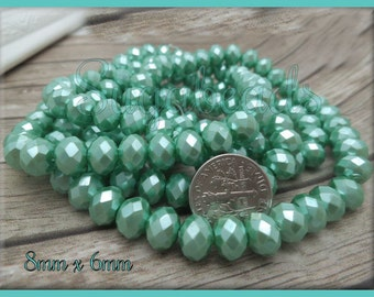50 Light Green Faceted Glass Rondelle Beads with Pearl Coat GB3