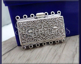 Silver Plated over Brass 7 Strand Box Clasp 36mm x 26mm