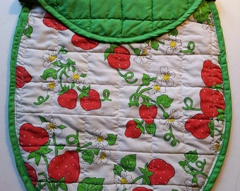 Vintage Strawberry Place mat Project Craft Tote for Knitting, Crochet, Needlework and Such